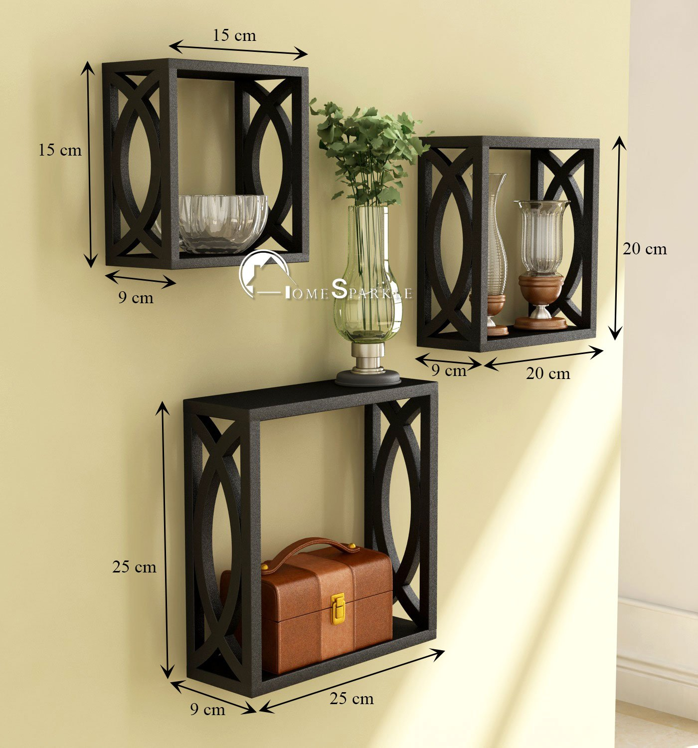 Home Sparkle Wooden Wall Shelf | Cube Design Wall Mounted ...
