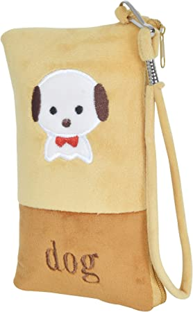 Chords Cute Little Puppy Mobile Pouch in Soft Toy Pencil Pouch with Smooth Zipper & Handle