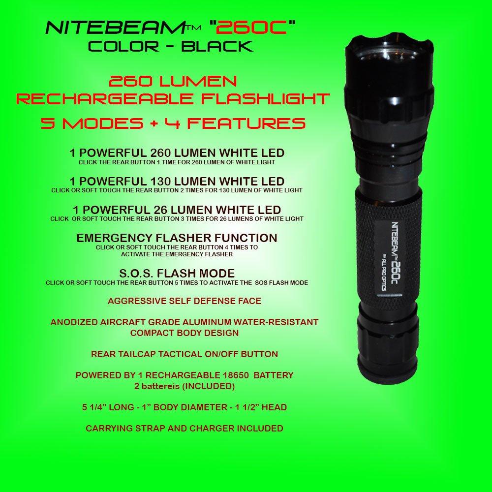 Nitebeam 260c High Power 260 Lumen Rechargeable 5 Mode Flashlight Powerful Led Flasher Basic Handheld Flashlights