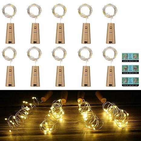 Vicloon Luz de Botella,2m 20LEDs Lámparas de Botellas con Pilas Flexible de Alambre de