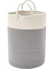 DOKEHOM X-Large Storage Baskets -15.7 Inches(D) x 19.7 Inches(H)- Cotton Rope Basket Woven Baby Laundry Basket with Handle for Diaper Toy Cute Neutral Home Decor (White/Grey, L)