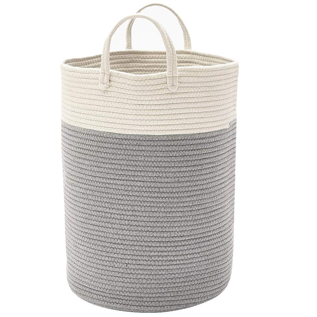 DOKEHOM X-Large Storage Baskets - 15.7''(D) x 19.7''(H) - Cotton Rope Basket Woven Baby Laundry Basket with Handle for Diaper Toy Cute Neutral Home Decor (White/Grey, L)