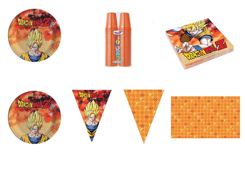 Party Store web by casa dolce casa Dragon Ball Z Goku Coordinato ADDOBBI Festa - Kit n°18 CDC-(24 Piatti, 100 Bicchieri Arancio, 40 TOVAGLIOLI,1 TOVAGLIA,1 Festone)