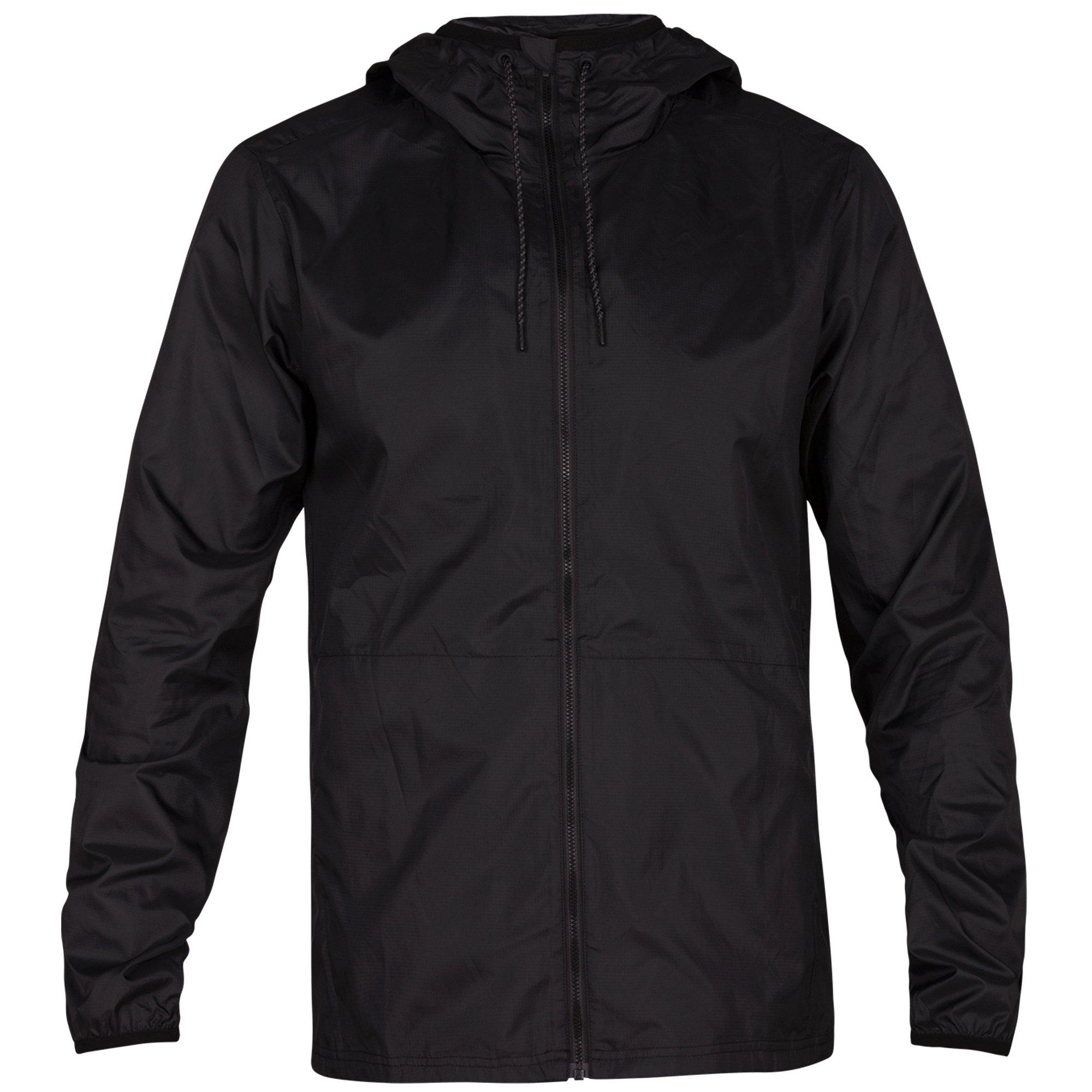 Hurley Men's Solid Protect Hooded Windbreaker, Black, XL