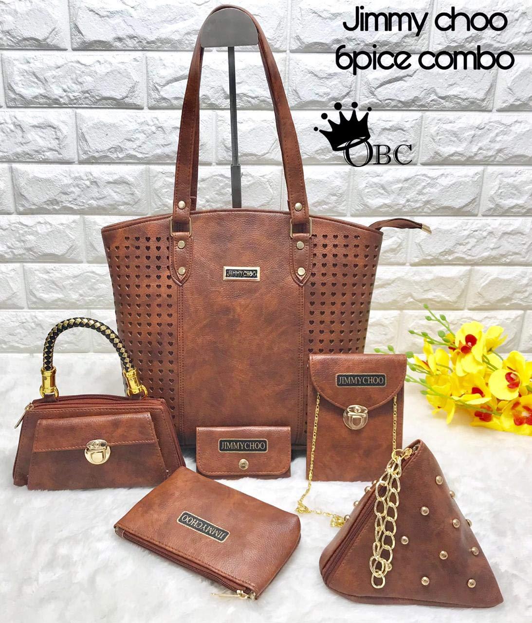 23311baa7b7 Buy jimmy choo, zara, mk branded Women's Handbag, Duffel, Shoulder, Wallet,  Pouch, Mobile-Bag, Sling Bag, Small Purse (Brown) - Set of 8 Online at Low  ...
