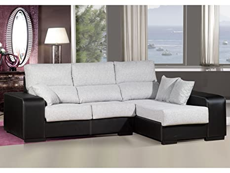 Sofa chaiselongue ,medida 275 Tapizado similpiel y tela (Color claro y Negro)