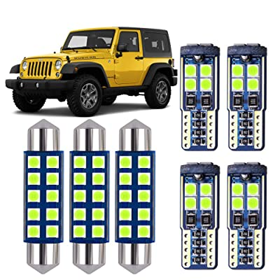 DODOFUN Ice Blue LED Interior Map Dome Upper Reading Light Kit and License Plate Bulb for Jeep JK Wrangler 2007-2020: Automotive