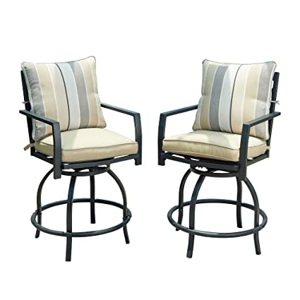 the latest e140d 6627d LOKATSE HOME Patio Height Chair Set of 2 Outdoor Swivel Bar Stools with  Seat and Back Cushions, White-2