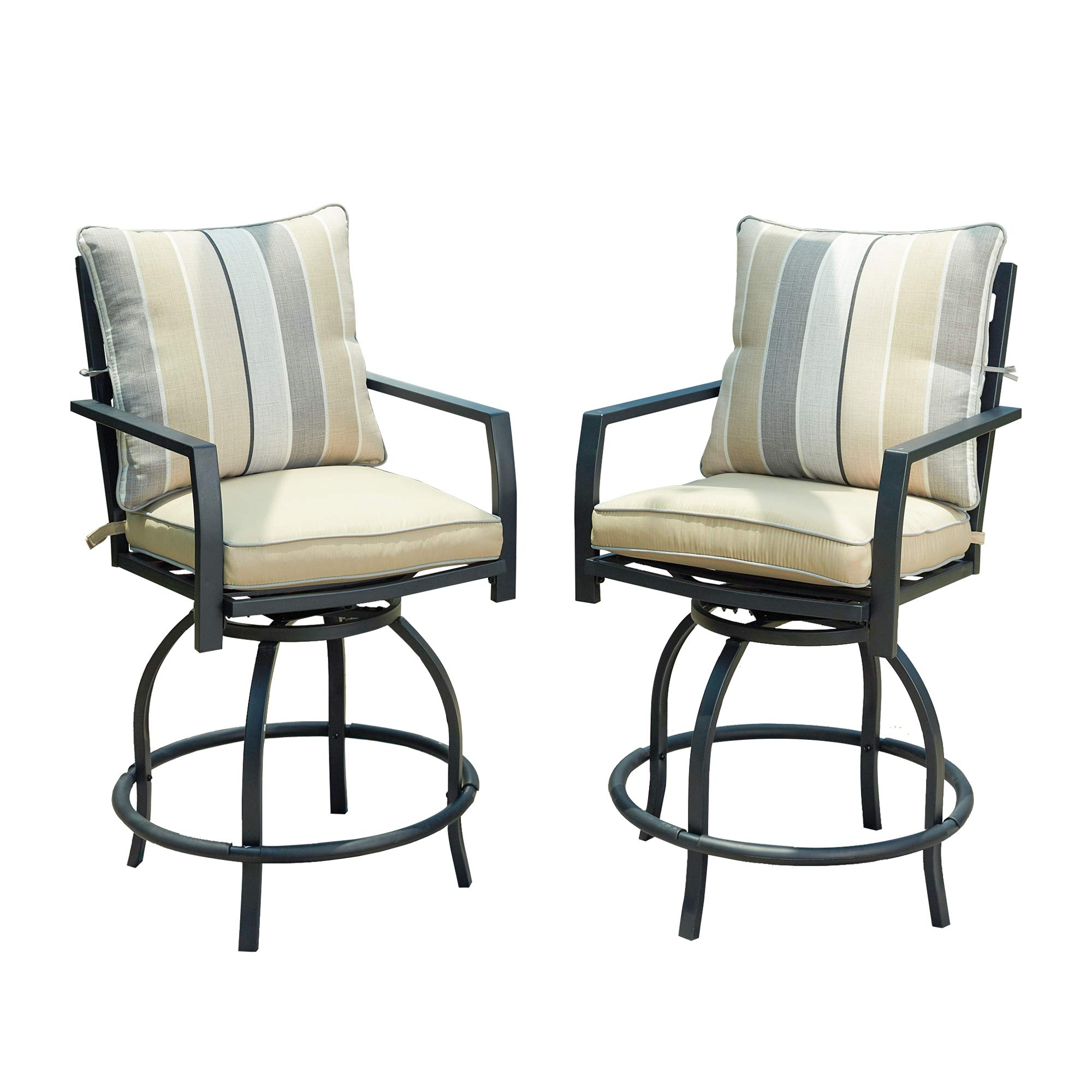 LOKATSE HOME Patio Height Chair Set of 2 Outdoor Swivel Bar Stools with Seat and Back Cushions, White-2