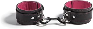 product image for Liberator Mercer Lambskin-Lined Leather Bondage Ankle Cuffs, Black/Pink, 0.7 Pound