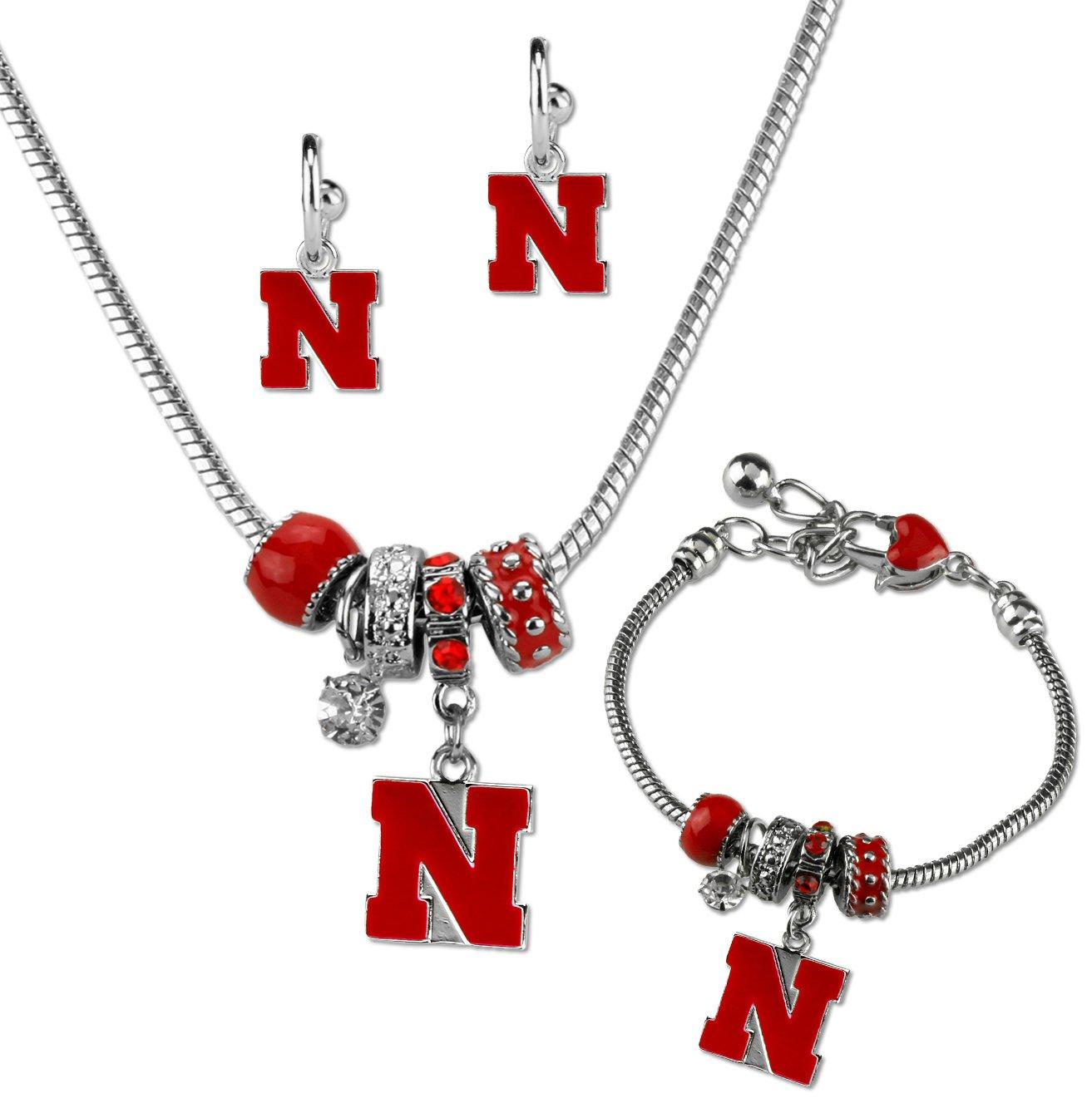 Sandol Nebraska Cornhuskers MVP Jewelry Combo Bracelet Necklace Earrings