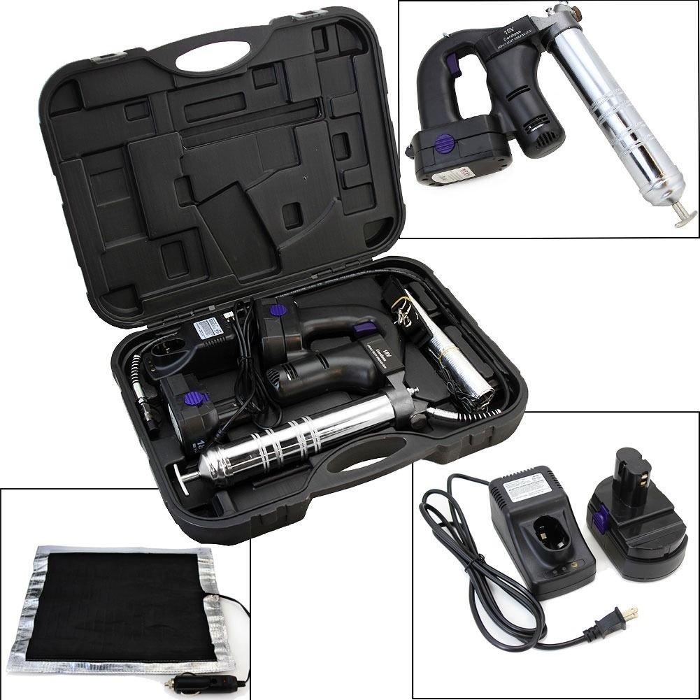 GHP 10000PSI 3-Position Cordless Grease Gun Kit w Thermal Warmer & 42'' Flexible Hose