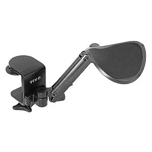 VIVO Black Universal Clamp-on Adjustable Armrest, Desk Cradle Rotating Elbow Cushion | Above Table Extension Platform Arm Support (MOUNT-ARM01)
