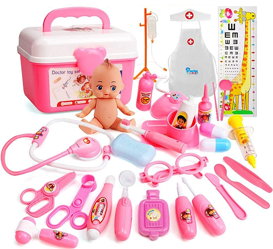31 PCS Doctor Kit Pretend Play Dentist Medical Tools Doctor Role Play Costume Dress Up Toy with Doll, Electronic Stethoscope and Coat for Kids Boys Girls XinTong