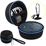 Echo Dot Case, Portable Carrying Travel Bag Protective Hard Case Cover for use with Amazon Echo Dot (2nd Generation) with Carabiner (Fits USB Cable and Wall Charger)
