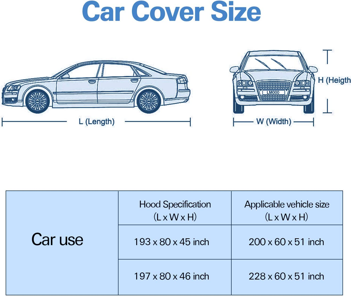 Fit Full Car Up to 200 5 Layers All Weather Waterproof Windproof UV Protection Car Covers for Automobiles Arch Motoring Car Cover