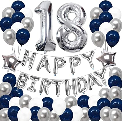 18TH BIRTHDAY GOLD SILVER PARTY PACK WITH BANNER /& 6 HELIUM BALLOONS BLACK