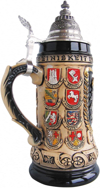 Z/öller /& Born Bierkrug Deutschland mit Bundesl/änderwappen Seidel 0,5 Liter Bierseidel ZO 1425//6969