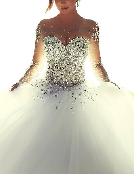 Amazon vestidos de novia manga larga