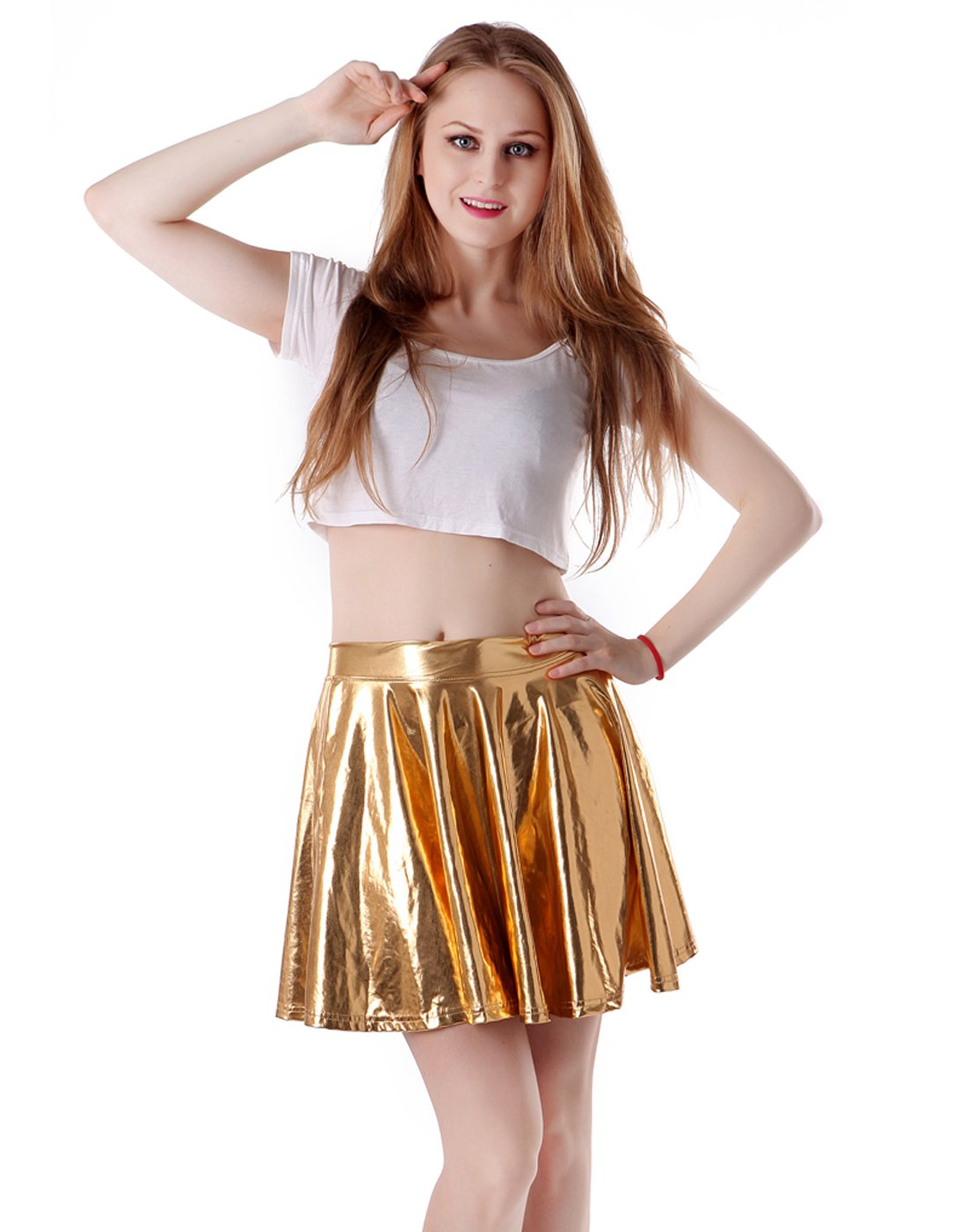 Women's Casual Fashion Flared Pleated A-Line Circle Skater Skirt (Gold, Large)