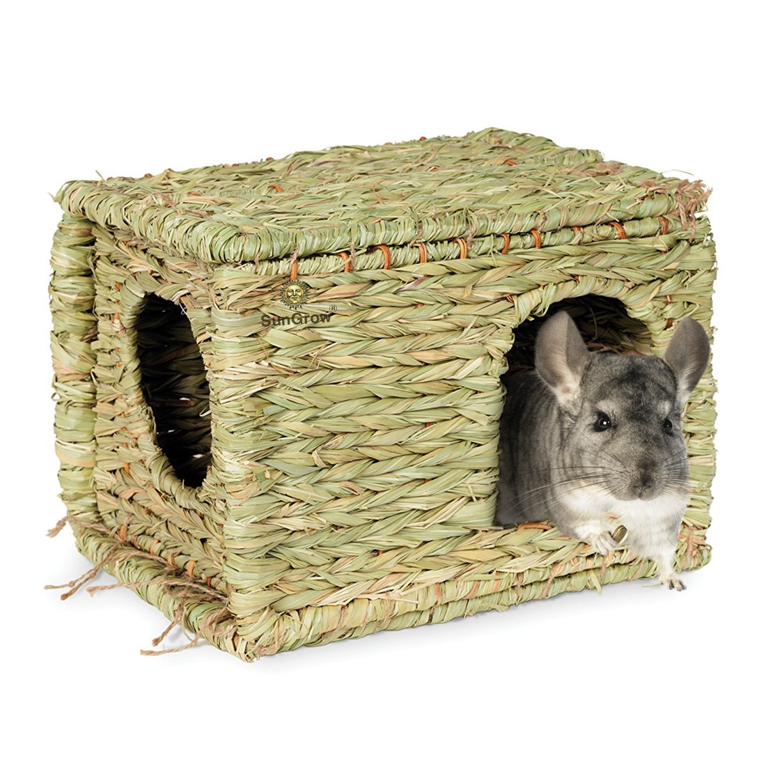 SunGrow Folding Woven Grass House for Rabbits, Guinea Pigs, Bunnies : Provides Comfort, Warmth & Security by Satisfying Natural Instincts: Multi-Utility, Edible, Non-Toxic, Chew Toy for Small Animals by SunGrow (Image #4)