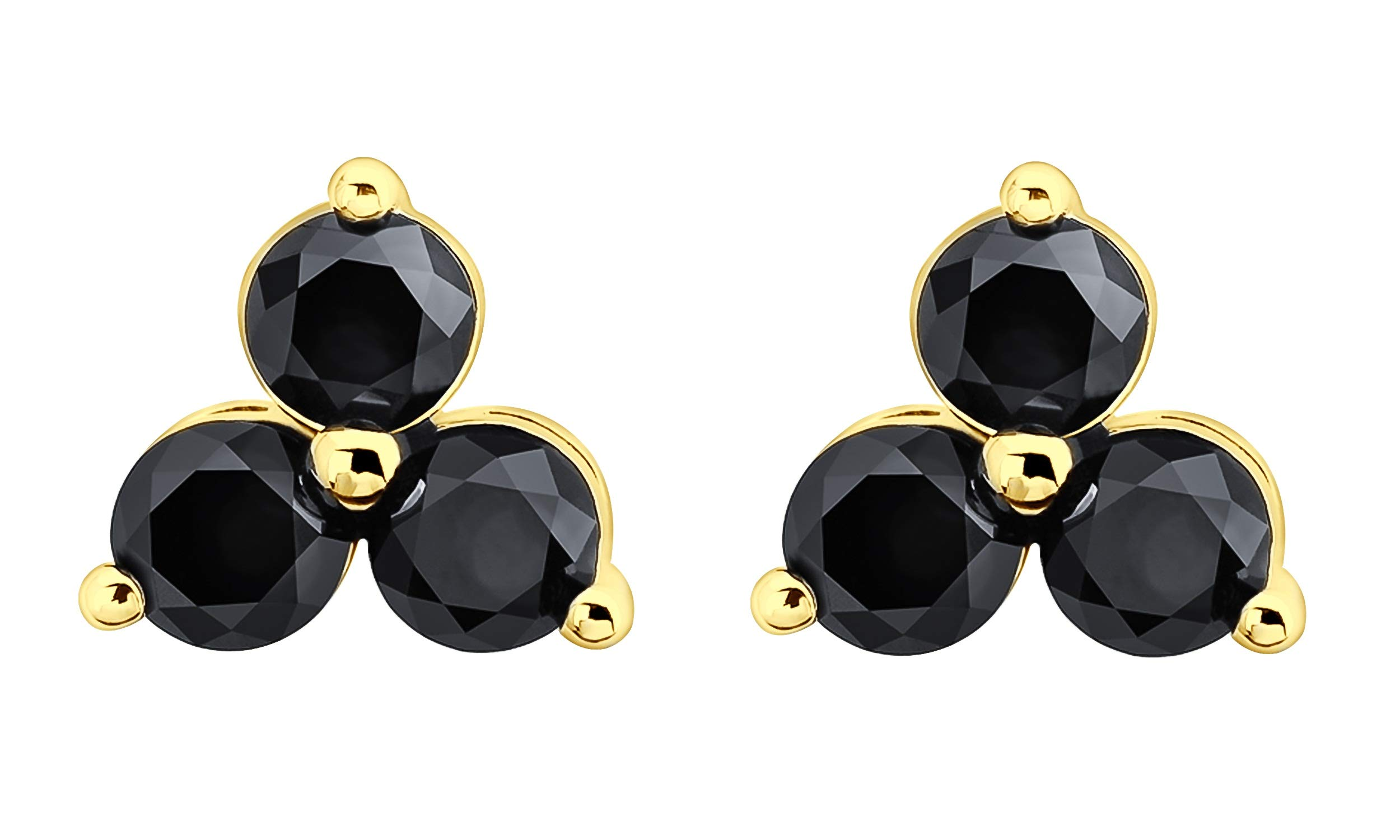 Prism Jewel 0.33Ct Round Black Diamond 3 Stone Trilogy Screw Back Earrings, 14k Yellow Gold