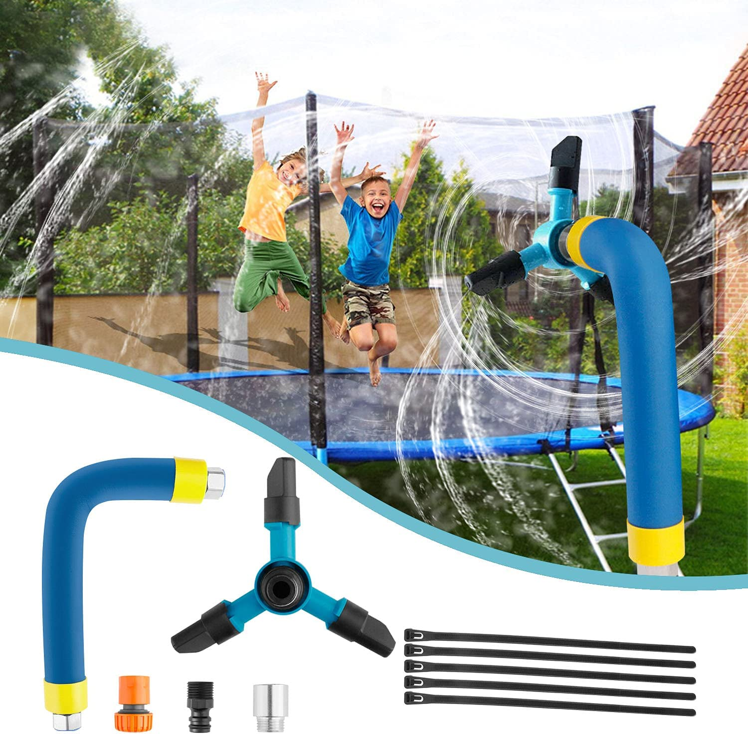 Hezruy Trampoline Sprinkler for Kids,360/°Rotation Outdoor Water Play Sprinkler for Trampoline,Fun Summer Trampoline Accessories Backyard Water Game Toys for Boys and Girls