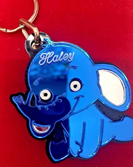Amazon com: Personalized Elephant Key Chain Custom Name