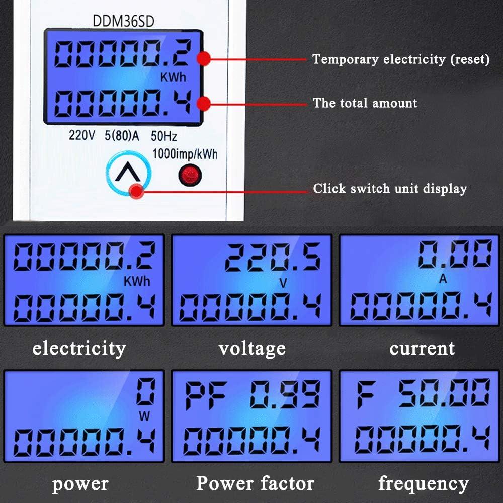 KKmoon Stromz/ähler Einphasiger DIN Schienen Energiez/ähler LCD Hintergrundbeleuchtung Digitalanzeige elektrischer Energie KWh Z/ähler