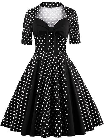9791e53390 Babyonlinedress Babyonline Women Vintage Short Sleeve Dresses Polka ...