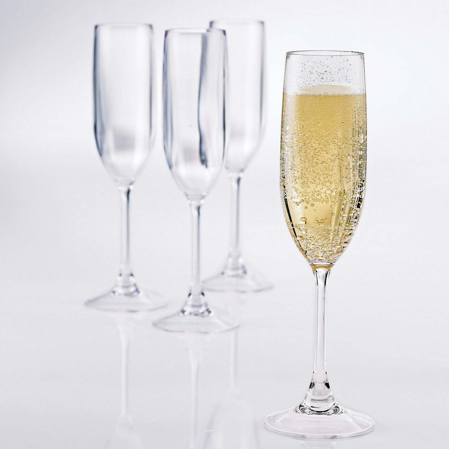 Wine Enthusiast Set of 4 Break Free PolyCarb Champagne Flutes