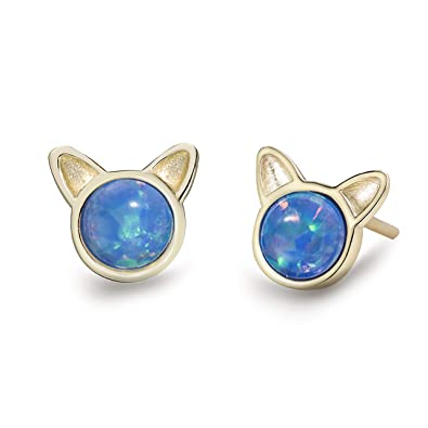 21743c8fc86b6 Meow Star Cat Earrings 14K Gold Plated Sterling Silver Blue Opal ...