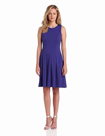 Nine West Dresses Women's Ponte Seamed Dress, Grapesicle, 4