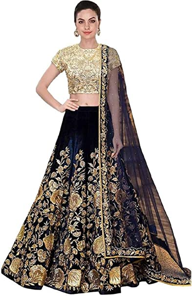 b44c3017e8 MR Fashion Women's tapeta silk hawy embrodarid Lehenga Choli (MR-82, newy  Blue, Free Size): Amazon.in: Clothing & Accessories