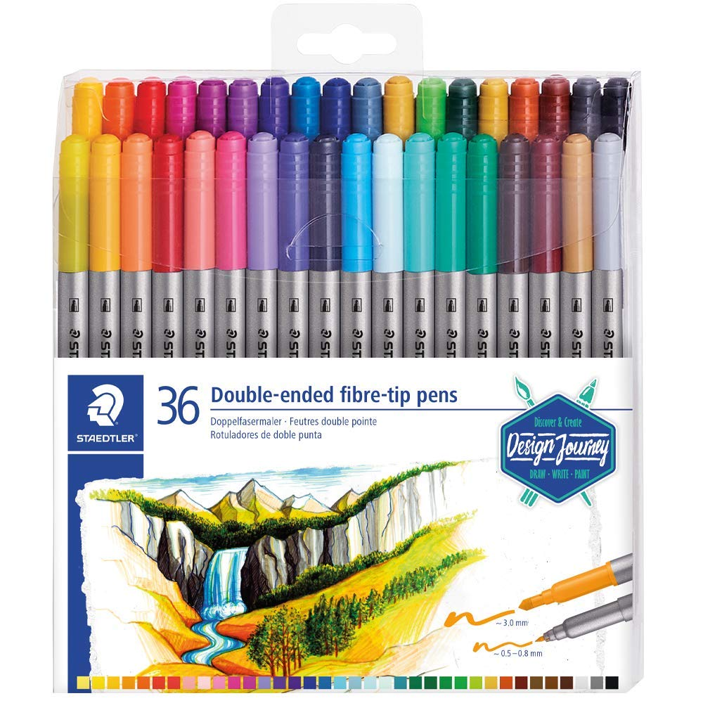 / Set 36/ Pennarelli Da Colorare doppia punta 3,0/ mm e 0,5/  / 0,8/ mm assortiti Staedtler 3200/ Design Journey/