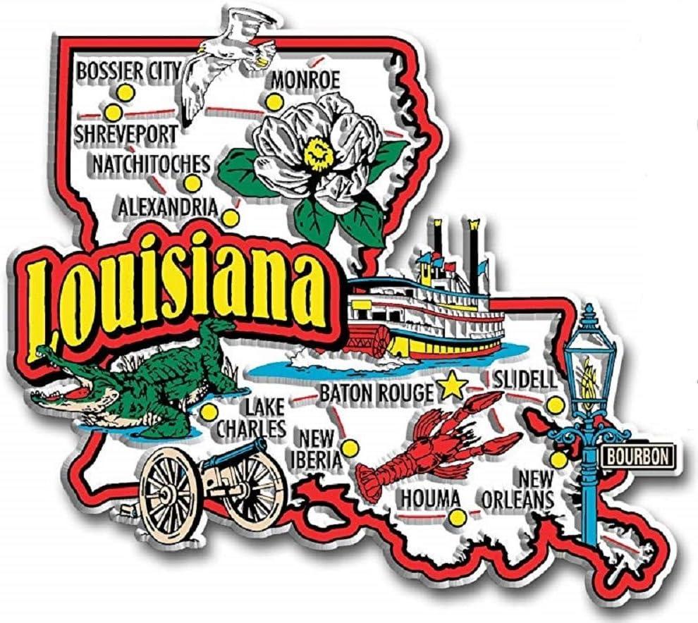 Louisiana Jumbo State Map Fridge Magnet