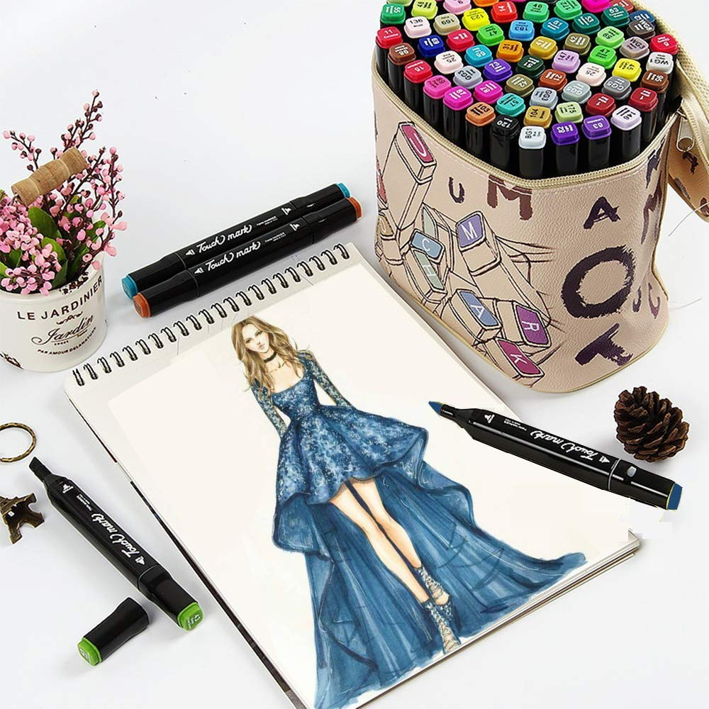 Litchitree 30 Colours Graphic Drawing Painting Alcohol Dual Tip Art Marker Pens, Extra Gift With Colourless Blender Marker,Highlighting Underlining Pen