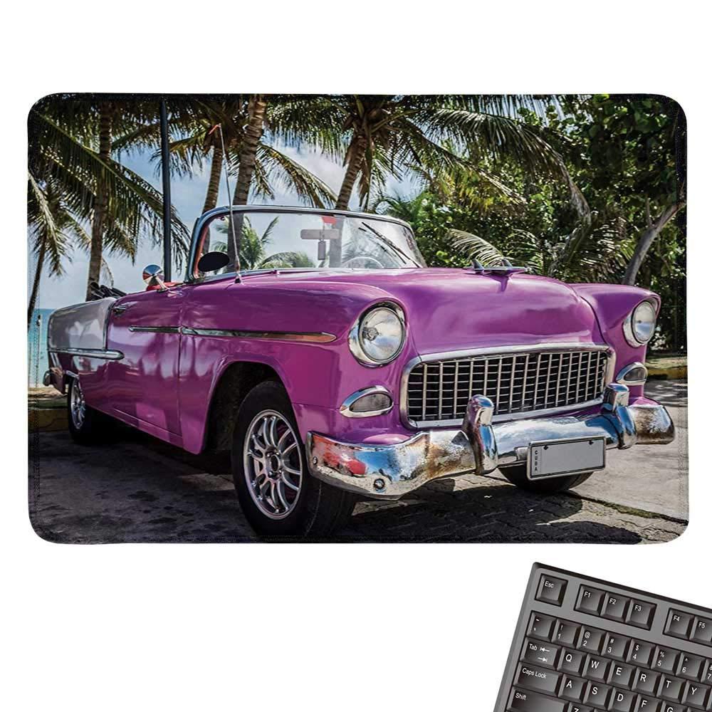 カーズコンピュータマウスパッド 青色 自動車 ピンクの背景 スポーツカー 大きな車輪と着色窓付き 黒布マウスパッド 9.8インチx11.8インチ フクシアブルー 9.8