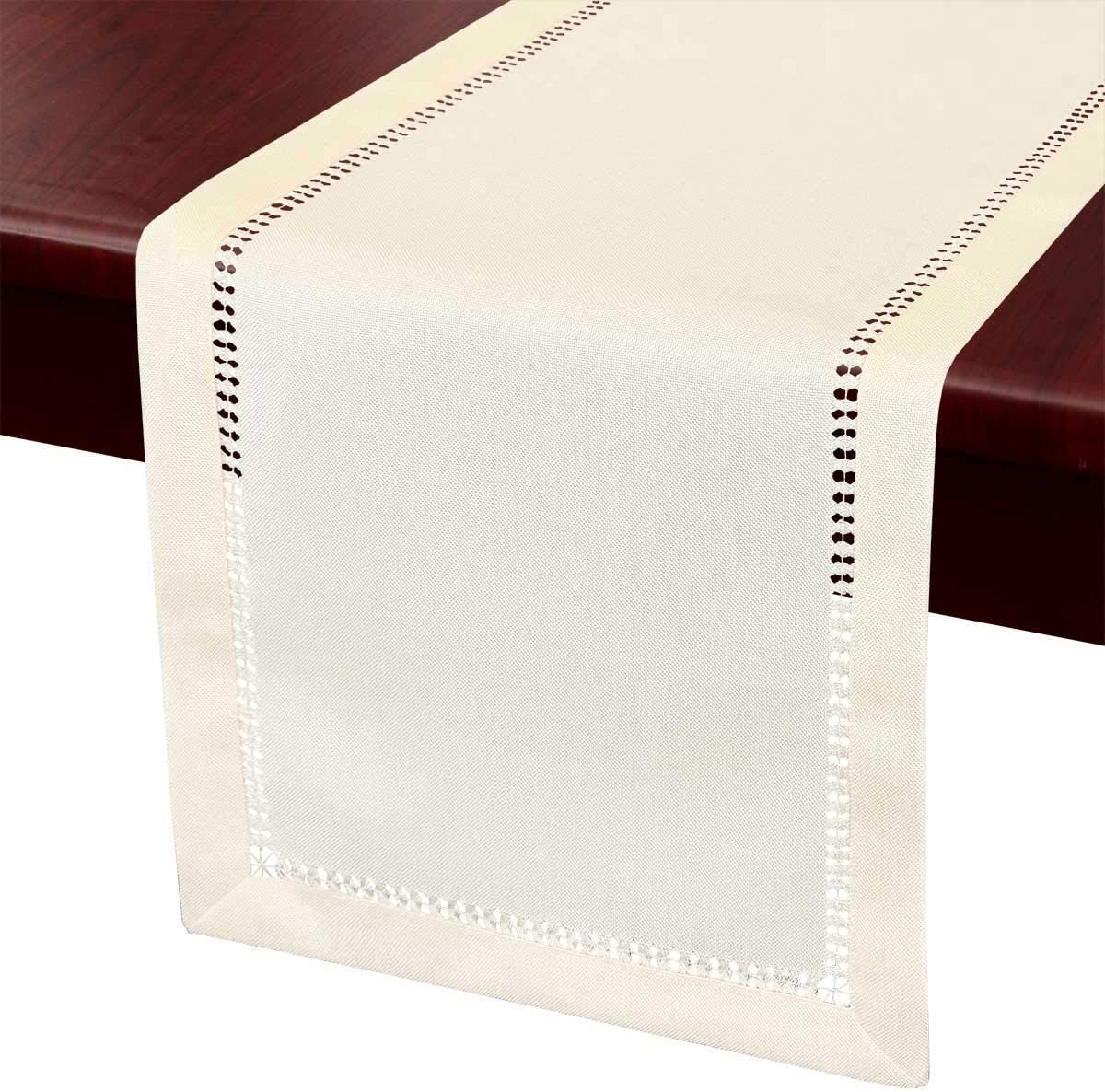 Grelucgo Large Handcrafted Double-Hemstitched Dining Table Runner