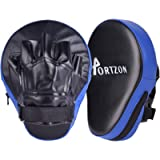 Portzon Curved Boxing Mitts,Pro Grade Leather Training Gloves, Perfect for MMA Sparring Muay Thai Kickboxing