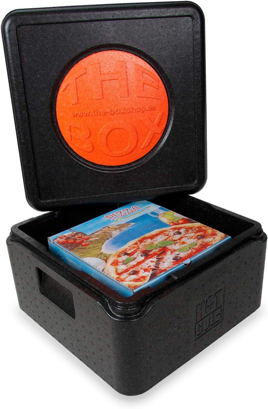 21 Liter Volumen: 41 x 41 x 24 cm Thermobox aus EPP - Nutzh/öhe 17,5 cm THE BOX Pizza Transportbox mit Deckel in schwarz