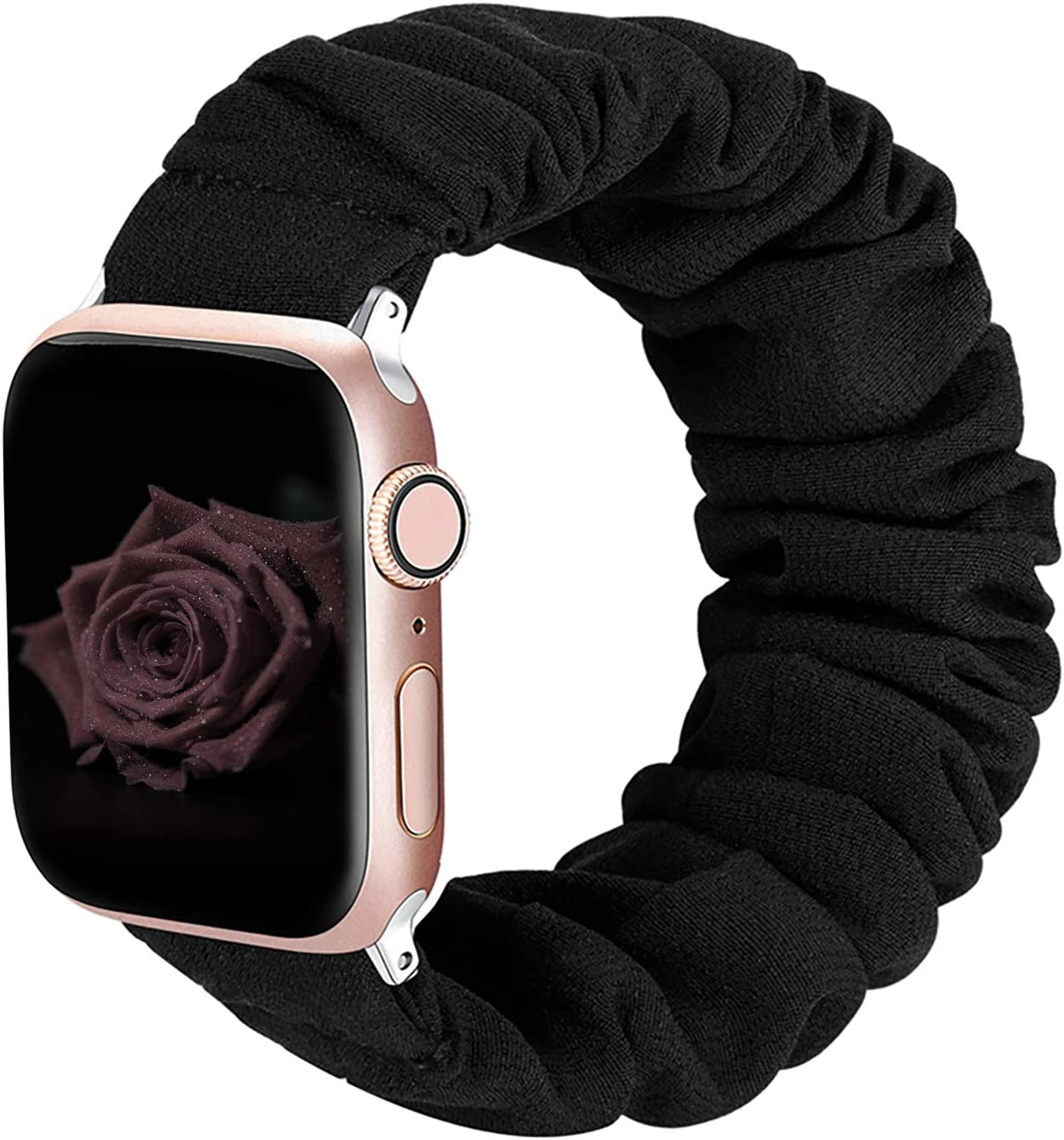 ALNBO Compatible with Apple Watch Band 38mm 40mm Soft Floral Fabric Elastic Scrunchies iWatch Bands for Apple Watch Series 5,4,3,2,1 38mm/40mm Black S
