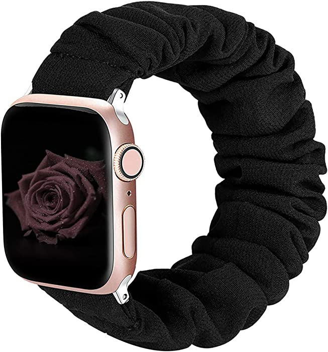 ALNBO Compatible with Apple Watch Band 42mm 44mm Soft Floral Fabric Elastic Scrunchies iWatch Bands for Apple Watch Series 5,4,3,2,1 42mm/44mm Black S