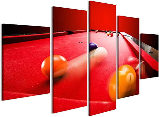 islandburner Cuadro Cuadros Las Bolas del Color de Billar Pool Juego de Mesa de paño Triángulo Rojo Impresión sobre Lienzo - Formato Grande - Cuadros Modernos: Amazon.es: Hogar