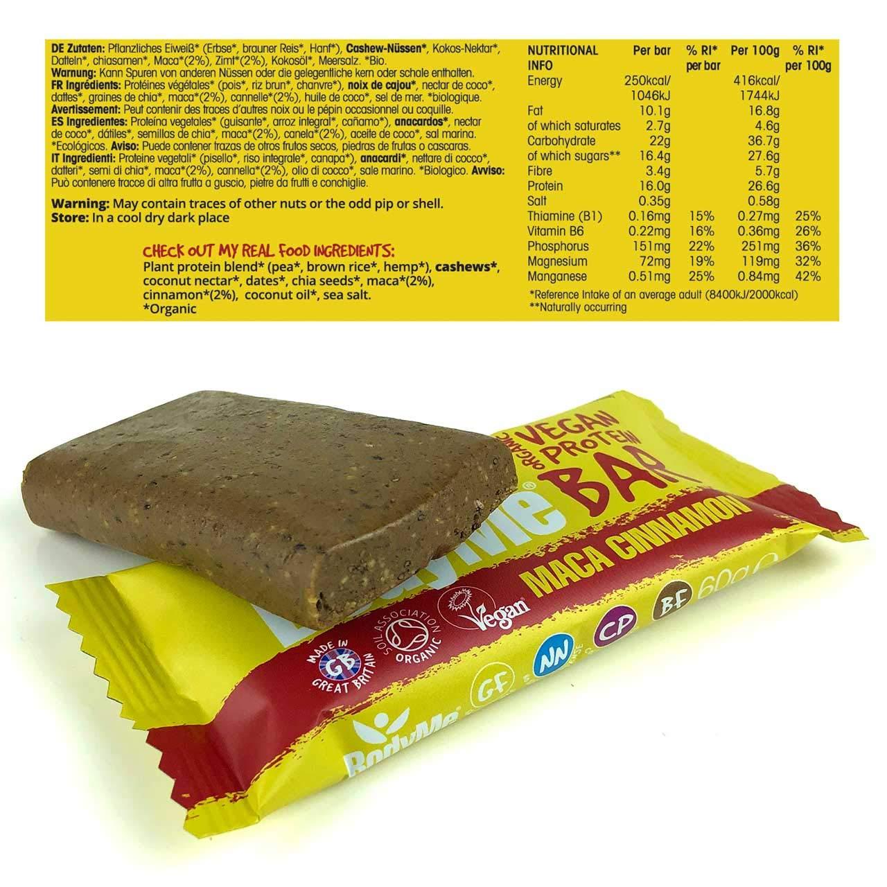 BodyMe Barritas Proteinas Veganas Organica | Cruda Maca Canela | 12 x 60g Barra Proteina Vegana | Sin Gluten | 16g Proteína Completa | 3 Proteina ...