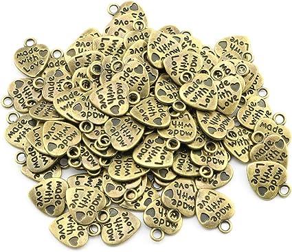 100pcs//Bag DIY Made With Love Charm Pendant Beads Bulk Jewelry Making Craft