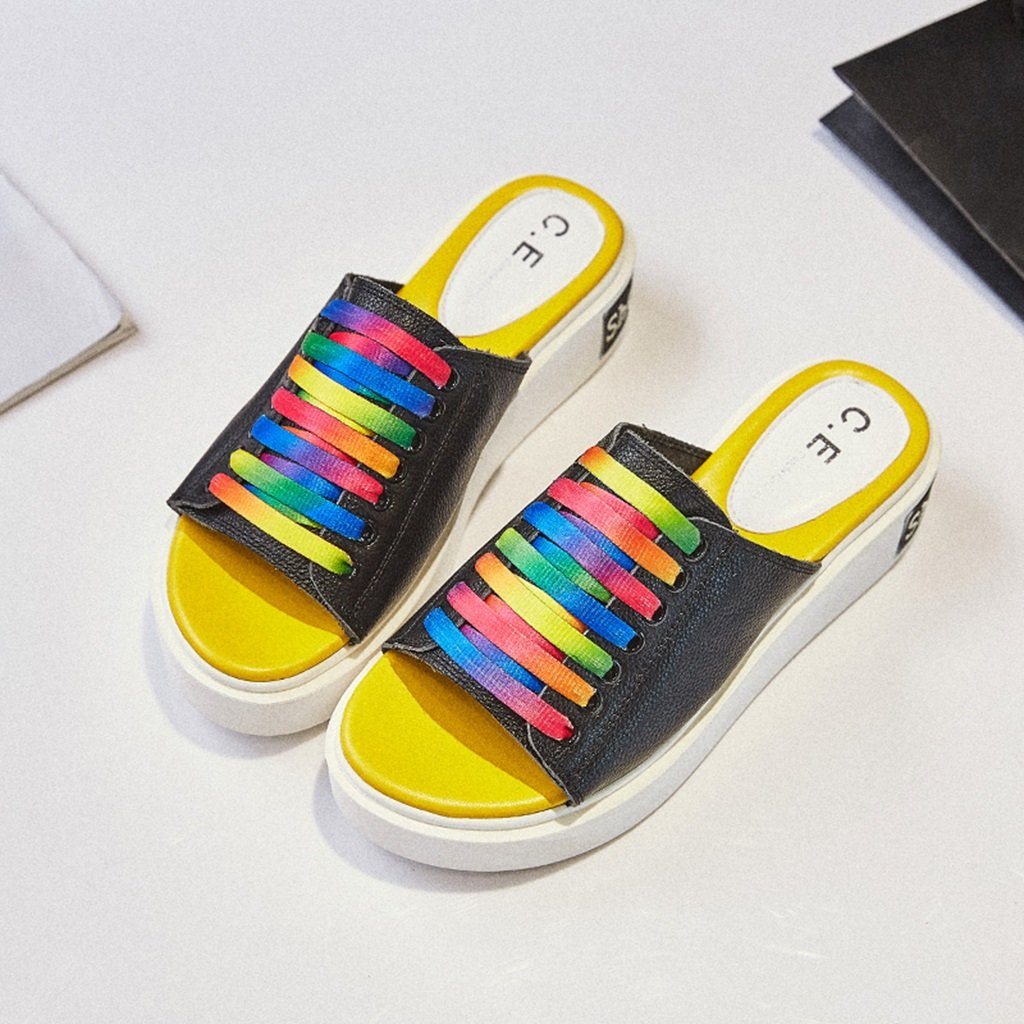 Sandalias XW Zapatillas de verano Zapatillas Punta Abierta Hembra Verano Moda Muffin Zapatos Gruesos Zapatos Casuales para mujeres chicas (Color : Negro, Tamaño : EU36/UK3.5/CN35) EU36/UK3.5/CN35 Negro