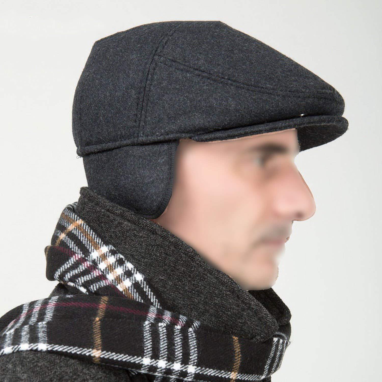 Men Winter Wool Beret Hat Flat Thicken Cap for Men Earflap Hats Solid