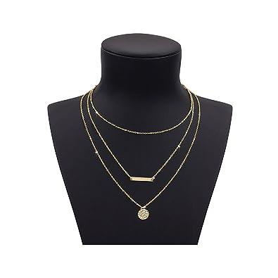 53b6ba7e6eb95 Zealmer Shoopic Multi Layer Coin Bar Pendant Necklace Lariat Y Necklace for  Women Gold Tone