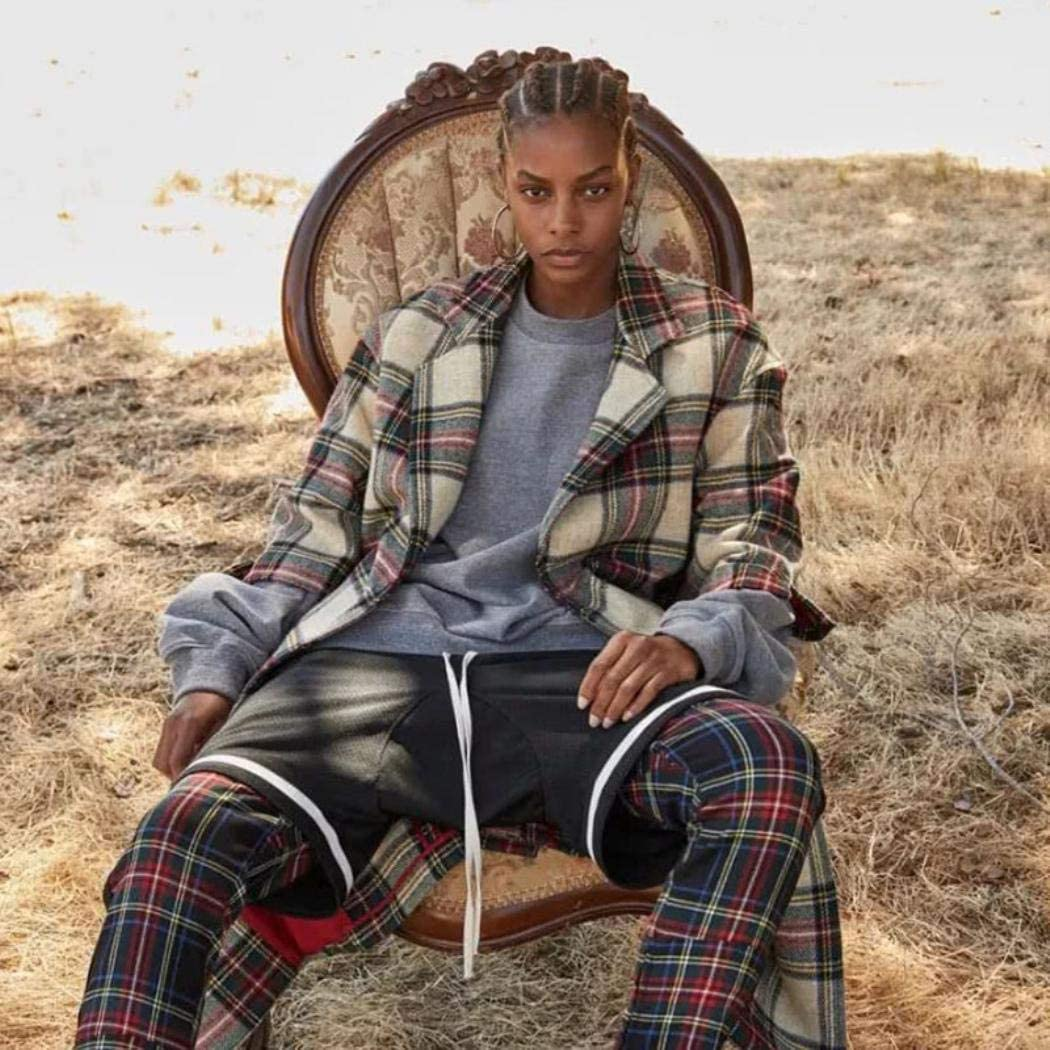 Men 2019 New Vintage Casual Joggers Hip-hop Zip Plaid Track Sweatpants